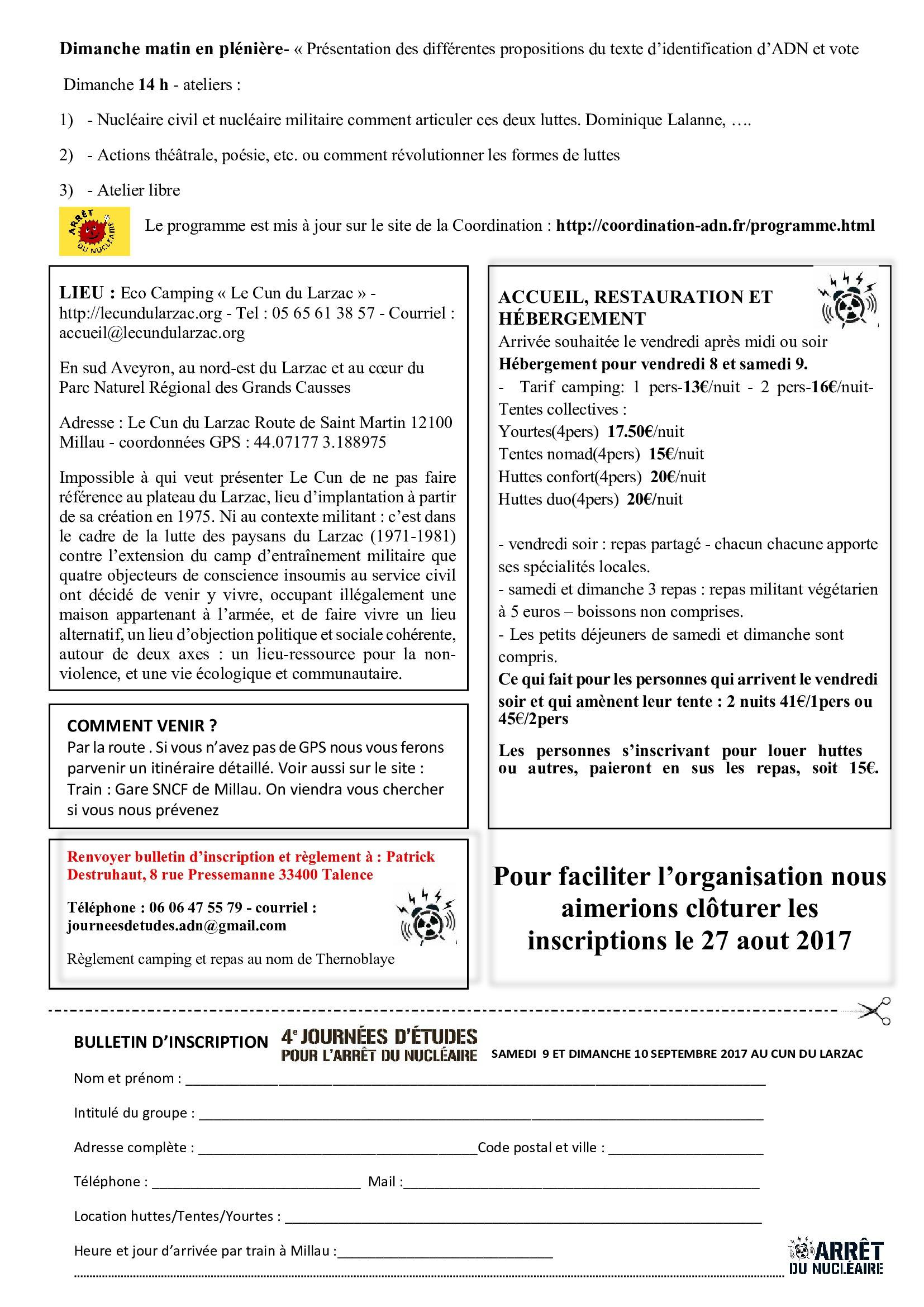 Inscription aux Journées d\'Etudes du Collectif ADN les 9 et 10 ...