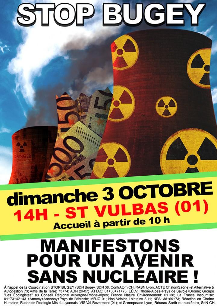 Manifestation pour un avenir sans nucléaire au Bugey (Ain)